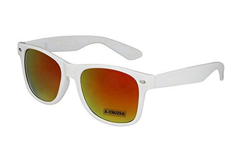 X-CRUZE® 8-053 X0 Nerd Sonnenbrille Retro Vintage Design Style Stil Unisex Herren Damen Männer Frauen Brille Nerdbrille - weiß und rot-orange verspiegelt