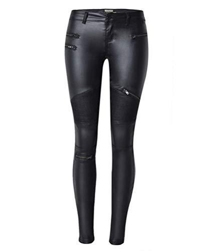 Flainstar Cuero Mujer Pantalones Skinny Smooth Elástico Cintura...