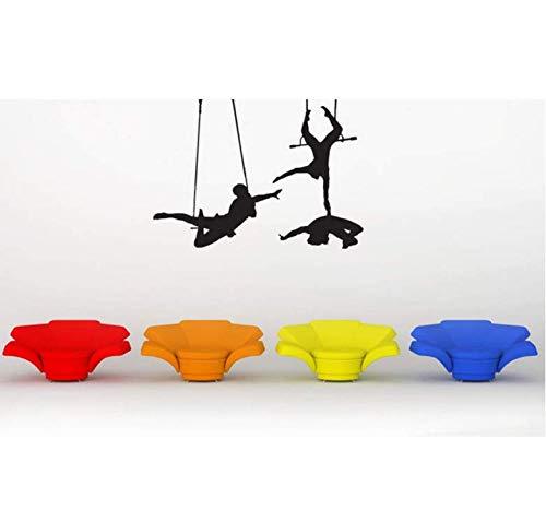 Wandaufkleber Applikation Tapetetrapeze Künstler Spielen Silhouetten Kunst Wandtattoos Trapeze Cirque Soleil Circus Wandaufkleber Zirkus Room Art Decor 45 * 59Cm