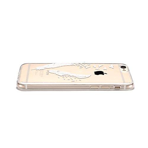 iphone 6 Hülle, E-lush Transparent Ultra Weich Dünn TPU Silikon Schutzhülle Case Handyhülle für iphone 6 6s (4.7 Zoll), Schwarz Mädchen Löwenzahn Muster Design Handycover Schale Schutzhülle Ultradünne Weiße Federn