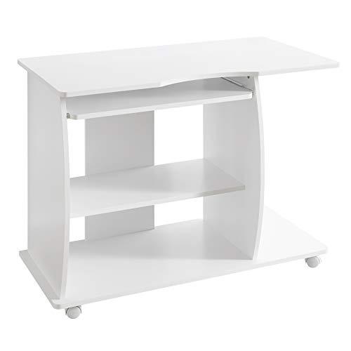 h David rollbar Weiß 90 x 71 x 50 cm mit Tastaturauszug | Laptop Tisch auf feststellbaren Rollen | PC-Tisch mit Drucker-Ablage platzsparend | Schreibtisch für kleine Räume ()