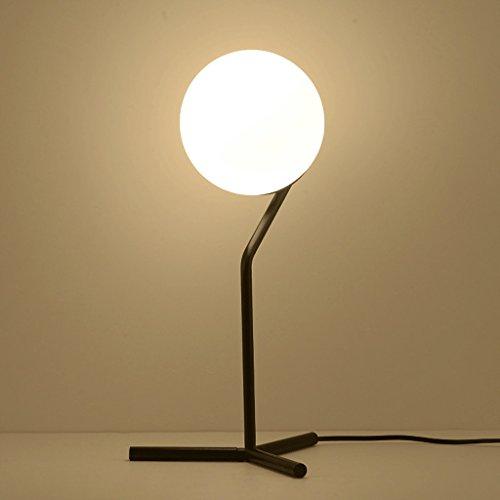 SMILR Fer Trépied noir Lampe de table, Salon Chambre chevet lampe d'éclairage, verre blanc sphérique lampe de nuit E27 Blanc, ne contient pas l'ampoule 17.72in * 9.85in