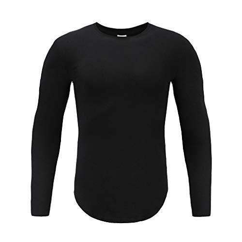 Amphia - Männer Sweatshirt - Langarm Fitness Top - Männer Herbst Casual Solide Langarm Pullover Sweatshirt T-Shirt Top Bluse(Schwarz,M)
