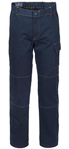 SERIO PLUS + Pantalone da Lavoro Drill Cotone con Tasca Laterale Blu Scuro A00109 (XXXL)