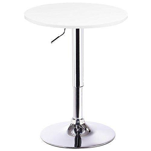 Bartisch Bistrotisch 1x Weiss, verchromter Stahl und MDF, höhenverstellbarer Tisch, BT02ws