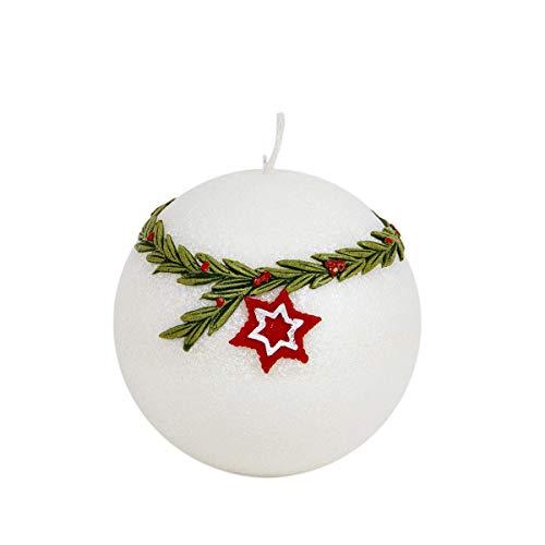 holzalbum Álbum de Madera LED Vela esférica Diodos Velas Ø 100 mm Vela de Navidad Estrella roja Blanco diodo incrustado en Cera