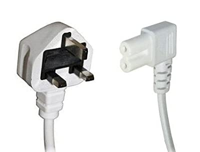 White 10m Mains Power Cable / Lead by electrosmart® ~ 3 Pin Moulded UK Plug to Right Angled IEC C7 Figure 8