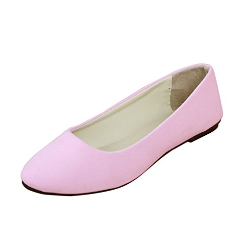 MISSMAO Stiefel Damen Flachschuhe Einzel Schuhe Frauen Sandalen Casual Halbschuhe Comfort Sohle Freizeitschuh Wildleder,Pink,EU 43