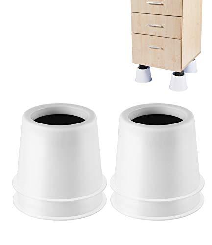 Table Ronde rehausseurs de lit Circulaire espaceurs rehausseurs de Meubles Soulève Heavy Duty Lot de 4pièces, Blanc, 3 inches