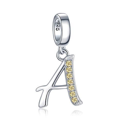 JewelryPalace Cubic Zirconia Iniziale A Z Charm Fit Bracciale Ciondola della Lettera Argento Sterling 925