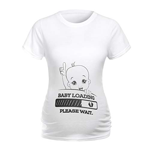 Lonshell Fußabdruck Mama Umstandsshirt, Mutterschaft Kurzarm T-Shirt, Basic Schwangerschaft Kleidung, Lose Umstandsmode Sommer Tee Umstandstop Blusa