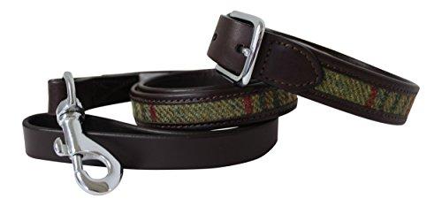 Leder Guild Design Studio Pell Mell Hund Halsband und Leine Set in braun Leder & Grün Tweed - Design Guild