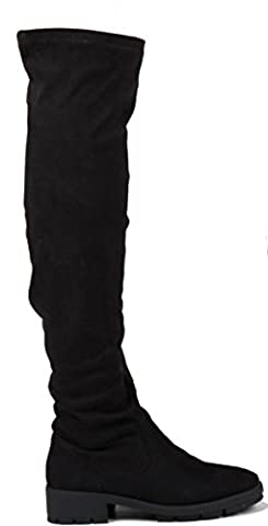 Size 6 Black Suede - WOMENS LADIES THIGH HIGH OVER