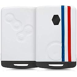 kwmobile Accessoire clé de Voiture pour Renault - Coque pour Clef de Voiture Renault 4-Bouton (Keyless Go Uniquement) en Silicone Bleu-Rouge-Blanc - Étui de Protection Souple