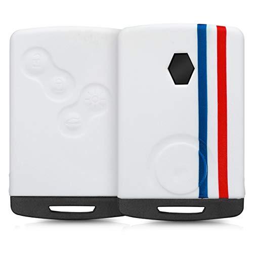 kwmobile Accessoire clé de Voiture pour Renault - Coque pour Clef de Voiture Renault 4-Bouton (Keyless Go Uniquement) en Silicone Bleu-Rouge-Blanc - Étui de Protection Soupl