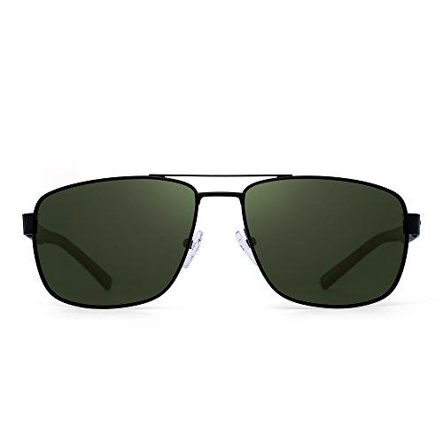 JIM HALO Polarisiert Fahren Flieger Sonnenbrille Metallrahmen Quadratische Linsen Brille Herren Damen(Schwarz/Polarisiertes Grün)