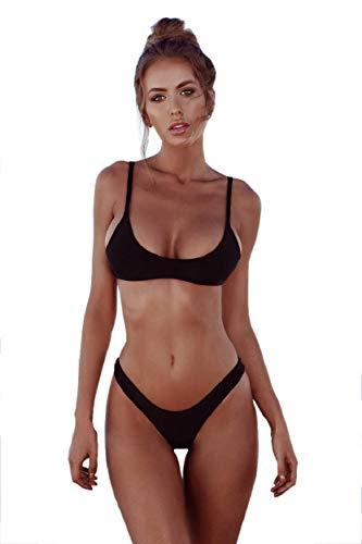 heekpek Bikinis Mujer 2019 Brasileños Bañador Ropa de Dos Piezas Push up con Relleno Traje de Baño de Tubo Color Liso