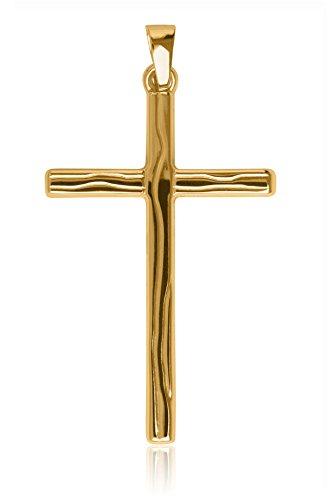 mygold-kreuz-anhanger-ohne-kette-gelbgold-585-gold-mit-holzmaserung-38mm-x-20mm-jungen-herren-manner