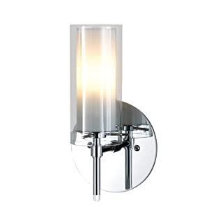 Alico Industries BV671-90-15 Tubolaire Collection 1-Light Wall Sconce, Chrome Finish with Clear Outer and Frosted Inner Glass by Alico Industries