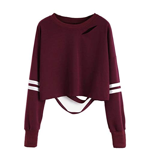 Livoty Girl Hollow O-Neck Short Sweatshirt Long Sleeve Crop Jumper Pullover Tops Small Wine Red