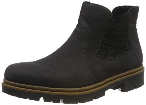 Rieker Damen Chelsea Boots 71364,Frauen Stiefel,Halbstiefel,Stiefelette,Bootie,Schlupfstiefel,flach,Blockabsatz 3.5cm,schwarz/schwarz / 00, EU 38