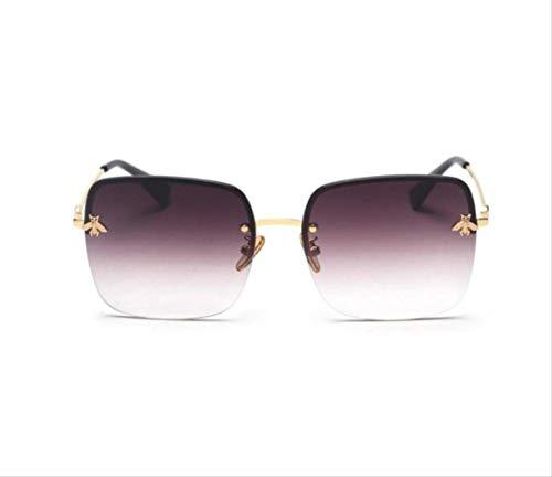 shengbuzailai Retro quadratische Sonnenbrille-Frauen, die Metallrahmenlose Steigungs- Sonnenbrille- Unisexweinlese-Bienen-Schatten A3 neigen