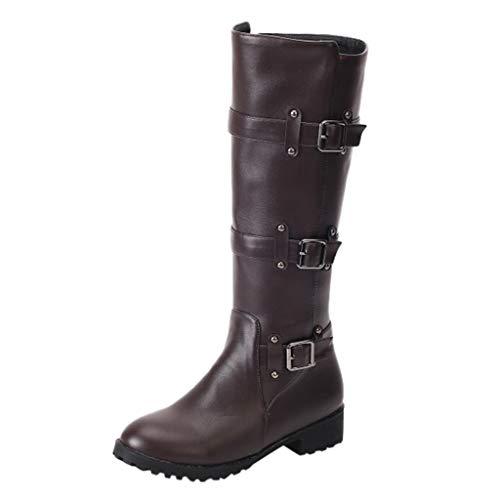 COZOCO Damen Gürtelschnalle hohe Stiefel quadratischem Absatz Flache Sohle Freizeitstiefel Elegante einfarbige Stiefel rutschfeste Langwellen Stiefel(Braun,37 EU)
