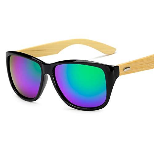 Taiyangcheng Espejo de Moda gafas de sol de Madera cuadrados de bambú gafas de sol Hombres,Verde Negro