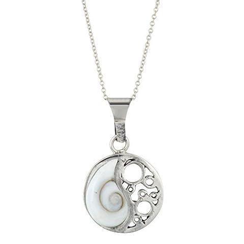 Silverly Frauen 925 Sterling Silber Weiß Shiva Eye Ying Yang Filigree hängende Halskette, 46 cm (Halskette Weiß Shell Halskette)