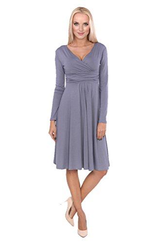 AE - Robe spécial grossesse - Trapèze - Manches Longues - Femme Gris
