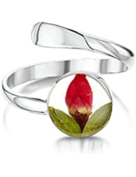 Shrieking Violet: verstellbarer Ring - mini Rosenblüte - rund - 925 Sterling Silber - variable Größe