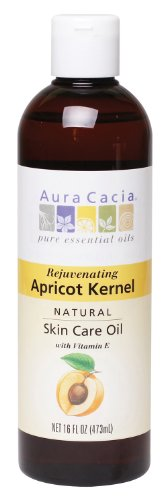 Aura Cacia Natural Skin Care Oil, Rejuvenating Apricot Kernel with Vitamin E, 16 Fluid Ounce (Aura Cacia Apricot Kernel Oil)