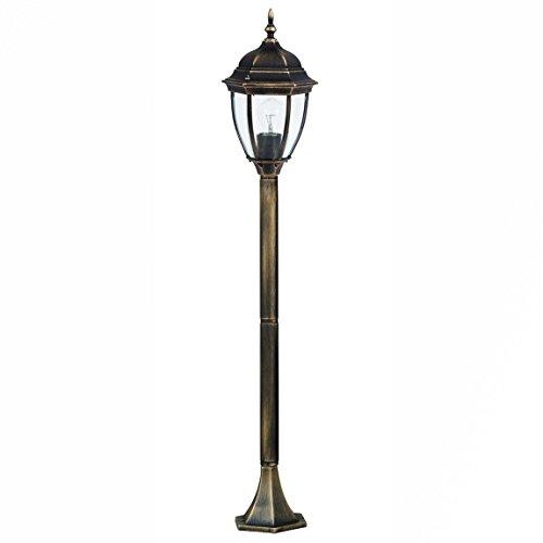 Glas-antike Stehlampe (Außen Stehlampe Gold Antik TORONTO E27 Glas wetterfest 1,1m hoch Wegbeleuchtung Garten Einfahrt Hof)