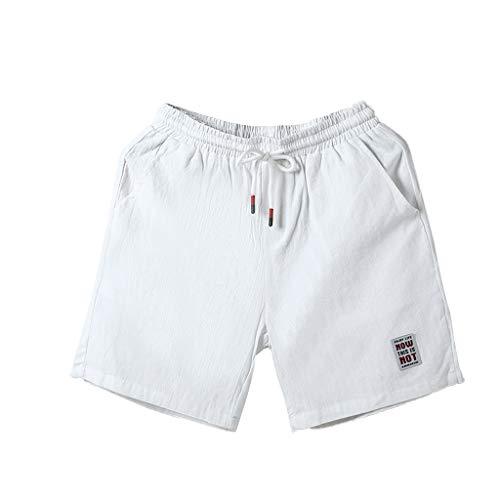 Xmiral Shorts Hose Herren Elastische Taille Mit Kordelzug Einfarbig Badehose Strandhosen Sporthose Lässig Strassenmode Große Größe(Weiß,XXL) -