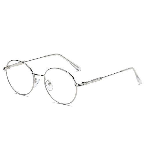 P-WEIAN Brille Brillengestell Metallhandwerksmode Retro flacher Spiegel Unisex Brillengestell, Silber