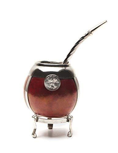Balibetov [Mate Argentino] Set per Mate di zucca fatto a mano - cornice e base in argento tedesco - (Tazza Mate) con Bombilla (Yerba Mate Straw) BORDO Silber Tee-set