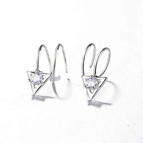 Katylen Einfache Diamant-Flash-Bohrer Dreieck S925 Silber Ohrringe Weibliche Drehende Feder Spirale Doppel Ohrringe Silber, Gold, 925er Silber (Doppel-spirale-ohrring)