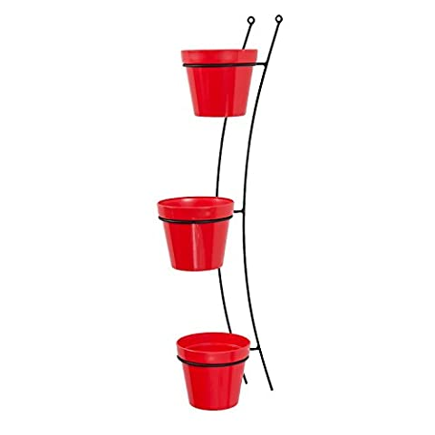 3x Blumentopf Übertopf Topf Patio Gloss D 15 cm rot + Aufhänger Wandhalterung Halter
