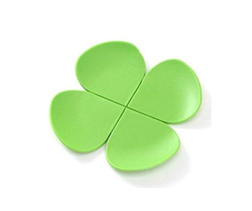 Omeny Herbe à quatre feuilles en silicone en forme Tasse de café Dessous-de-verre (Vert)