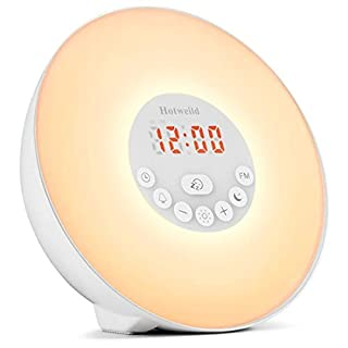 Hotweild Alarm Clock Upgraded, 7 Colors Bedside Wake-Up Light FM Radio LED Display Touch Control Snooze 6 Natural Sounds with Sunrise Sunset Simulator Mode, Polycarbonate, White