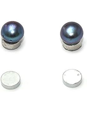 Idin Magnetische Ohrringe - Schwarze Perlen aus Süßwasserkultur Magnetische Ohrringe (ca. 6 mm)