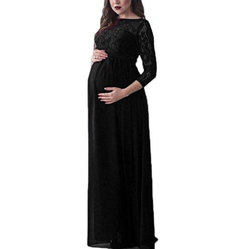 Huateng donna incinta in maxi vestito di pizzo chiffon elegante cocktail party abito incinta