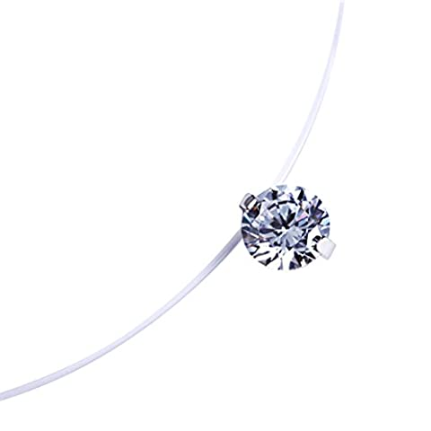Tinksky Fashion 0.8cm Zircon Pendentif Collier Invisible Fishing Line Collier pour Femmes Jewelry Decoration