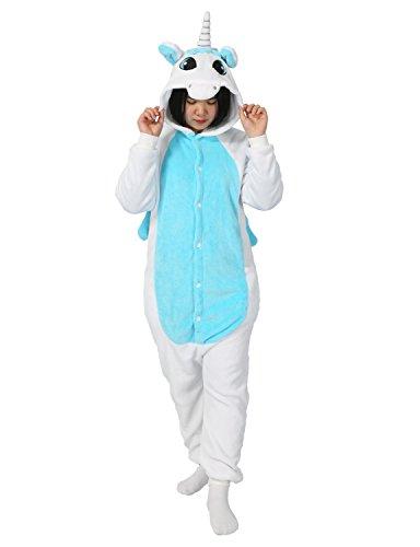 Carnevale halloween pigiama o costume di pigiama cosplay party onepiece intero animali unicorno regalo di compleanno per adulti adolescenziale ragazzi (xl(178-188cm), blu)