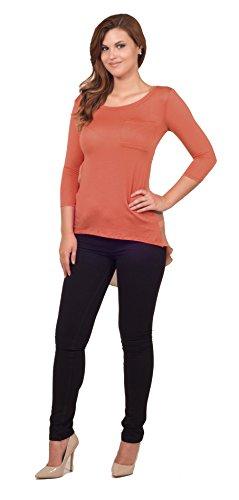 Damen Bluse mit Vordertasche rundem Ausschnitt 3/4 Ärmel schimmernd Vokuhila (Wms-kleidung)