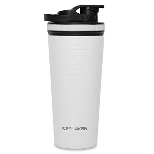 Ice Shaker Stainless Steel 750 ml Insulated Leak Proof double wall vacuum insulated Water Bottle Protein Shake Mixing Cup for gym/cycling/travelling/training/office (White 26oz) (As seen on SHARK TANK)
