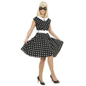 Rock 'n Roll Kleid schwarz und weiß gepunktet, Erwachsenen-Größe:46 (Satin Elvis Kostüm)