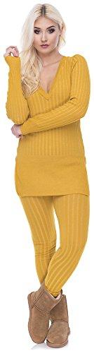 Damen Zweiteiler Set Jumpsuit Hausanzug Strickanzug Pyjama Hipster Chill V-Ausschnitt gerippt (OneSize, Gelb)