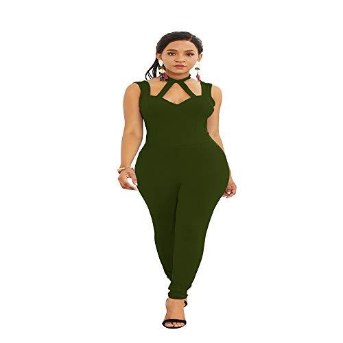 QIANZHIHED Kleid Frauen Hohlen Frauen Einfarbig Low-Cut Hängenden Hals Lässig Overall Rückenfreie Schlanke Hose, L -