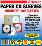 Farbige Papierhüllen für CDs mit transparentem Fenster (80 g, Packung enthält: 5 x 100 Stück) 5er-Packung